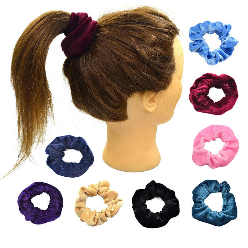Women Polyester Velvet Elastic Hair Scrunchie Ponytail Donut Grip Loop Holder Stretchy Hair Accessories 4 Colors
