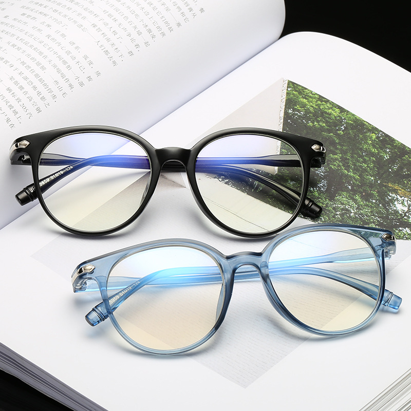 Round-Glasses Spectacles Computer Light-Coating Eye-Retro Anti-Blue Women For Rays