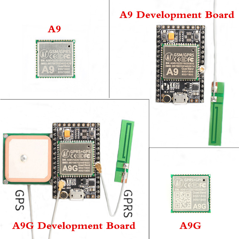 Gprs gps módulo a9 a9g módulo a9 a9g placa de desenvolvimento mínimo sistema de transmissão de dados sem fio que posiciona com antena