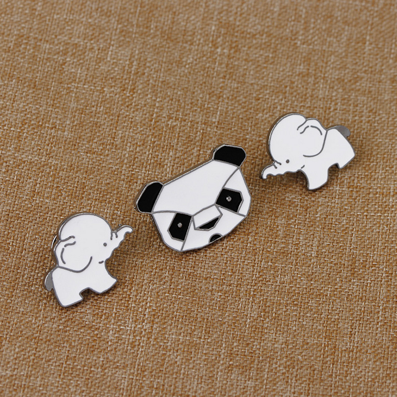 Badges Arts,crafts & Sewing 1 Pcs Cartoon Panda Elephant Metal Badge Brooch Button Pins Denim Jacket Pin Jewelry Decoration Badge For Clothes Lapel Pins Elegant Shape