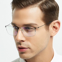 ELECCION Titanium Alloy Optical Glasses Frame Men Ultralight Square Myopia Prescription Eyeglasses Male Half Screwless Eyewear