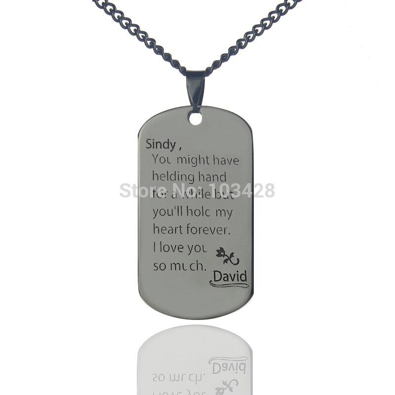 b0f99195d3c9 AILIN nombre personalizado Etiqueta de perro escribir una carta de amor  collar de acero de titanio grabado joyería