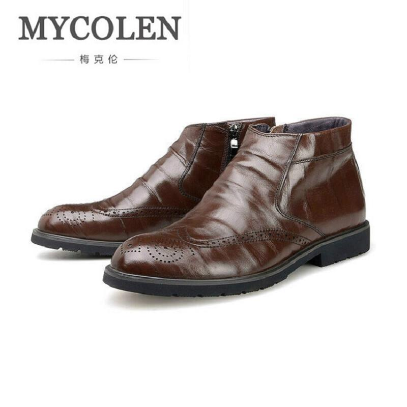 MYCOLEN Chelsea Boots Men British Style High Top Brand Men Boots Black Brown Leather zipper Mens Shoes Anfibi Militari Uomo 2017 new autumn winter british retro men shoes zipper leather breathable sneaker fashion boots men casual shoes handmade