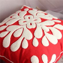1PC Red Snowflake Embroidery Cushion Cover Square Christmas Decorative Pillow Case 4545cm Size No