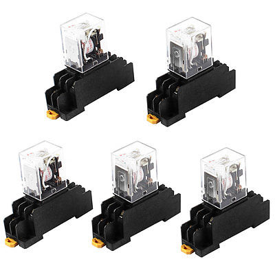 HH52PL AC 380V Coil DPDT 8Pin 35mm DIN Rail Electromagnetic Power Relay 5 Pcs Free Shipping 220 240v ac coil dpdt power relay my2nj 8pin 5a