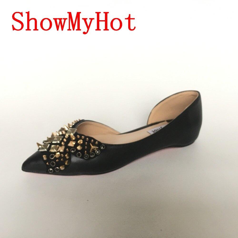 Showmyhot الأزياء برشام أشار تو الأحذية واحدة شقة ربيع الخريف برشام الضحلة الفم سيدة أحذية النساء أحذية جلدية حقيقية شقة-في أحذية نسائية مسطحة من أحذية على  مجموعة 1