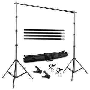 Image 1 - نظام دعم حامل الخلفية 2.6 متر × 3 متر/8.5ft × 10 قدم مع حقيبة حمل لخلفيات موسلينز والورق والقماش