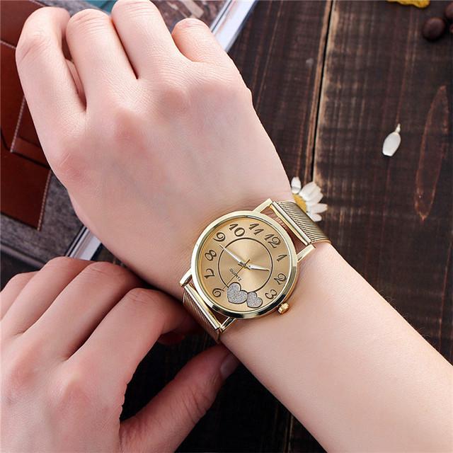 Fashion Double Hearts Printed Women's Quartz Wristwatch