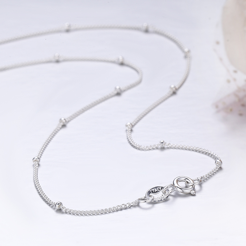 35 80cm Slim Thin Pure 925 Sterling Silver Beads Curb Chain Choker Necklaces Women Girls Jewelry