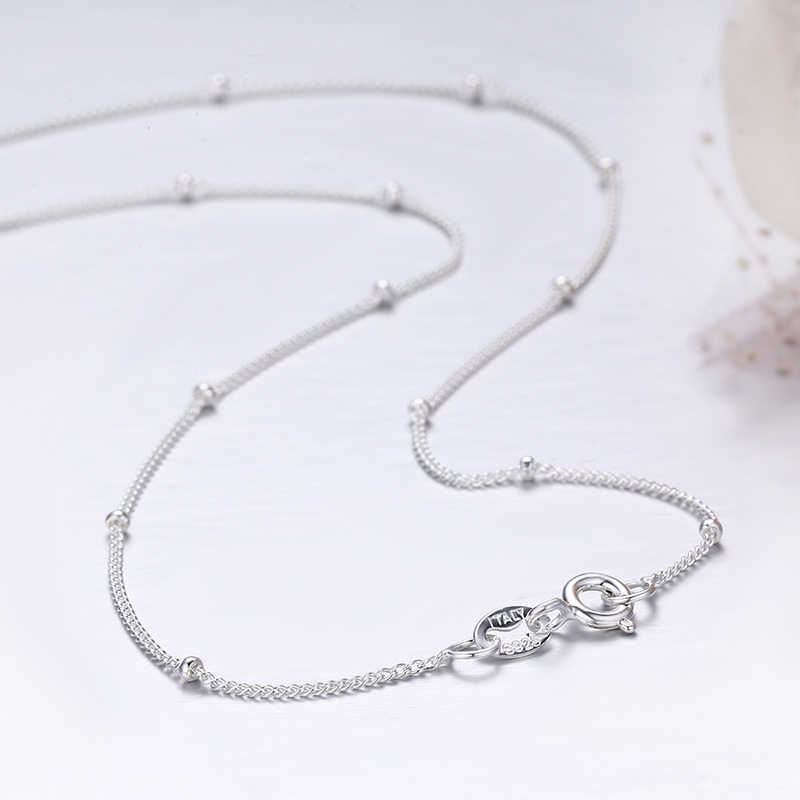 35-80cm fino puro 925 prata esterlina contas curb corrente gargantilha colares feminino meninas jóias kolye collar ketting