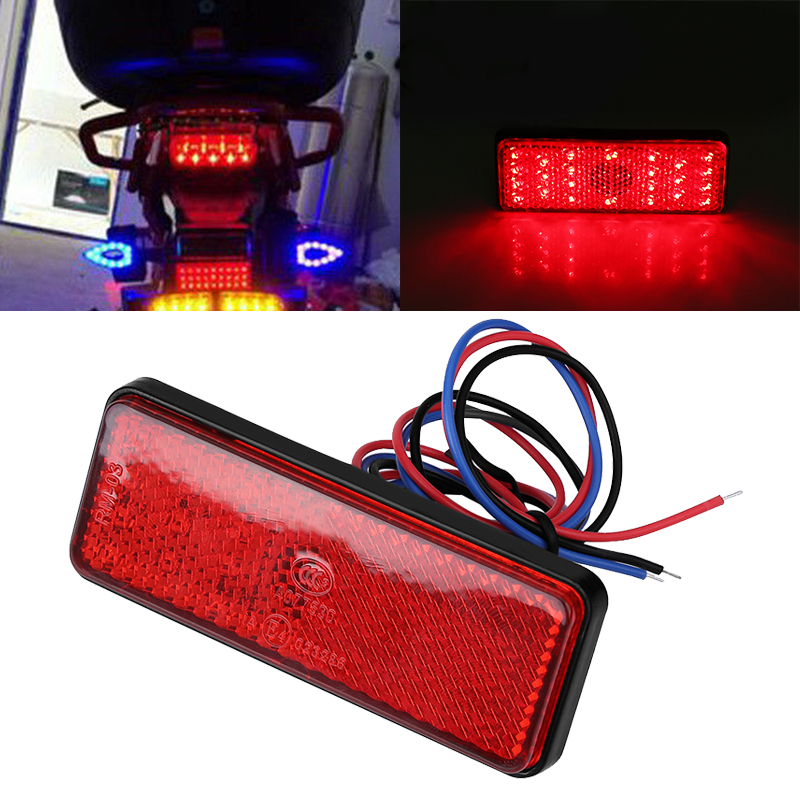 Treyues 1pc Motorcycle Truck ATV Red 24LED Rectangle Reflector Tail Brake Stop Light 2.4W 2.3A For Scooters ATVs Moped Bicycles