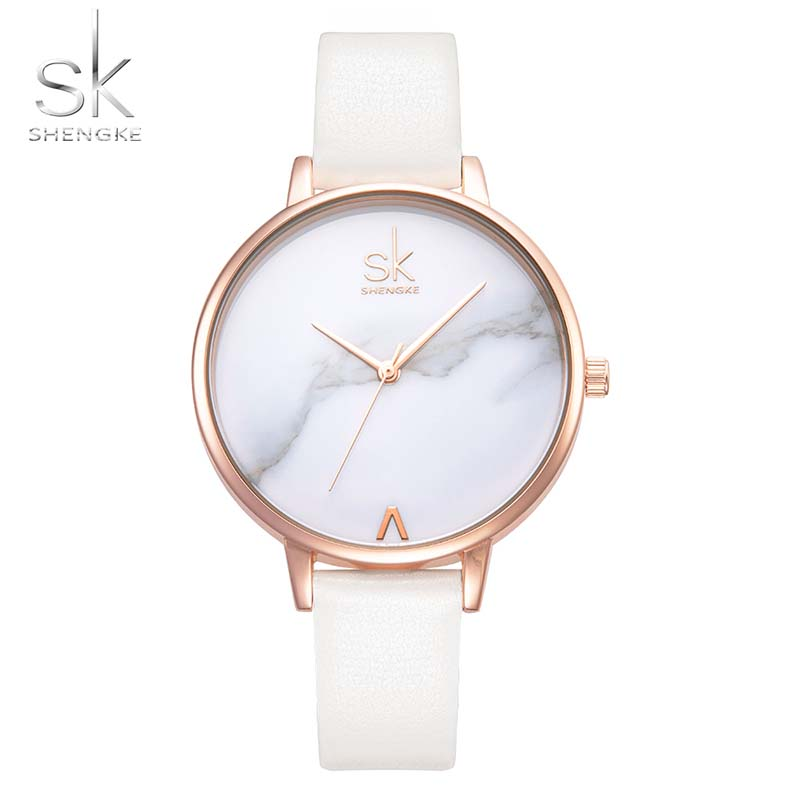 Montre Femme Dress Watch Women Shengke Brand Fashion Ladies Watches Women Thin Leather Strap Watch Female Relogio Reloj SK shengke top brand fashion ladies watches white leather marble dial female quartz watch women thin casual strap watch reloj muje