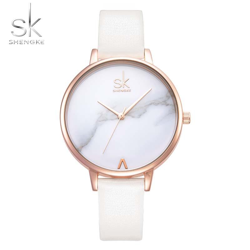Montre Femme Dress Watch Women Shengke Brand Fashion Ladies Watches Women Thin Leather Strap Watch Female Relogio Reloj SK