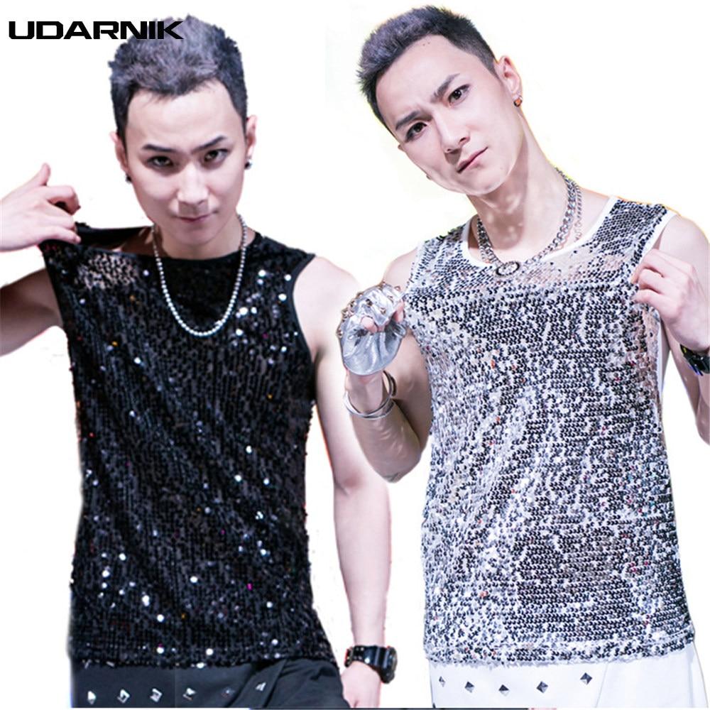 a75fce0d203a9 Men Sequins Tank Tops Nightclub Dance Perform Glitter Vest Sleeveless Punk  Style O-Neck 4