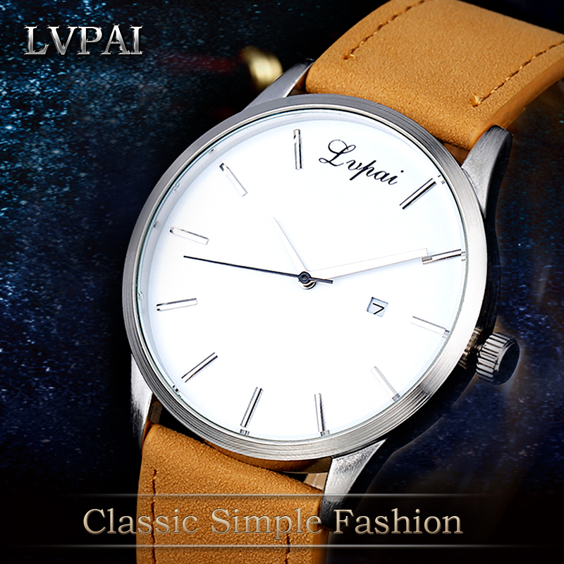 Lvpai Brand 2017 New Leather Strap Quartz Watch Men Fashion Luxury Simple Wristwatch Calender Business Dress Male Clock LP031 2017 men xinge brand business simple quartz watches luxury casual leather strap clock dress male vintage style watch xg1087
