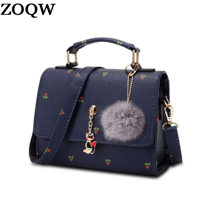Zoqw 2018 Cute Women Messenger Bags Designer Handbags High Quality Pu Leather Crossbody Bag Cat Printing