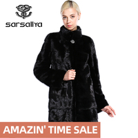 SARSALLYA Real Fur Style Fashion Fur Coat Genuine Leather Mandarin Collar Good Quality Mink Fur Coat Women Natural Black Coats