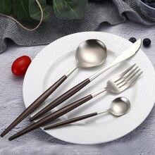 24 Pcs Brown Silver Dinnerware Set Top Quality Stainless Steel Dinner Knife Fork Teaspoon Scroops Cutlery Set Silverware