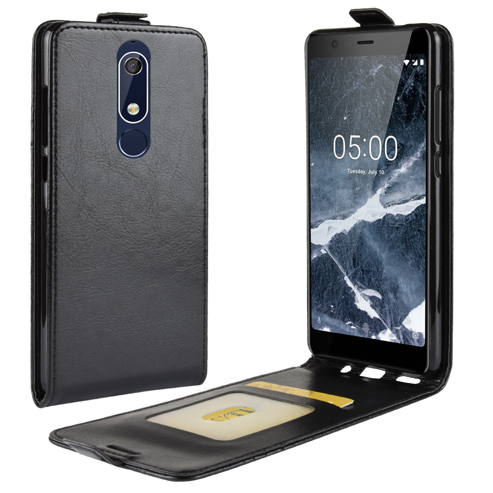 Retro Flip Wallet Vertical PU Leather Case Cover For Nokia 5.1 Vintage Phone Housing Bags with Visa Card Slot