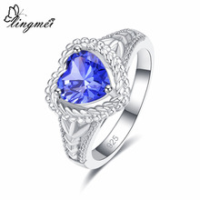 lingmei Love Heart Eternity Bridal Promise Ring Blue Solitaire Zircon Silver Jewelry Size 6 7 8 9 Free Shipping Wedding