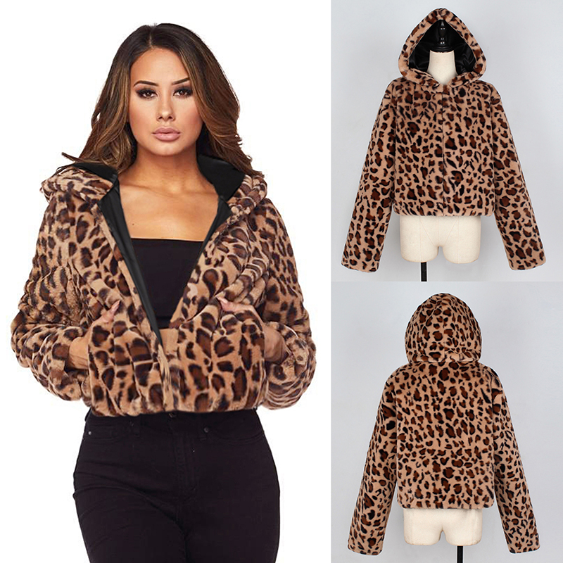 7a60ec35ff 2018 Autumn Winter Warm Soft Parka Overcoat Elegant Leopard Print Faux Fur  Coat Women Female Plush Casual Outwear Coat Plus Size
