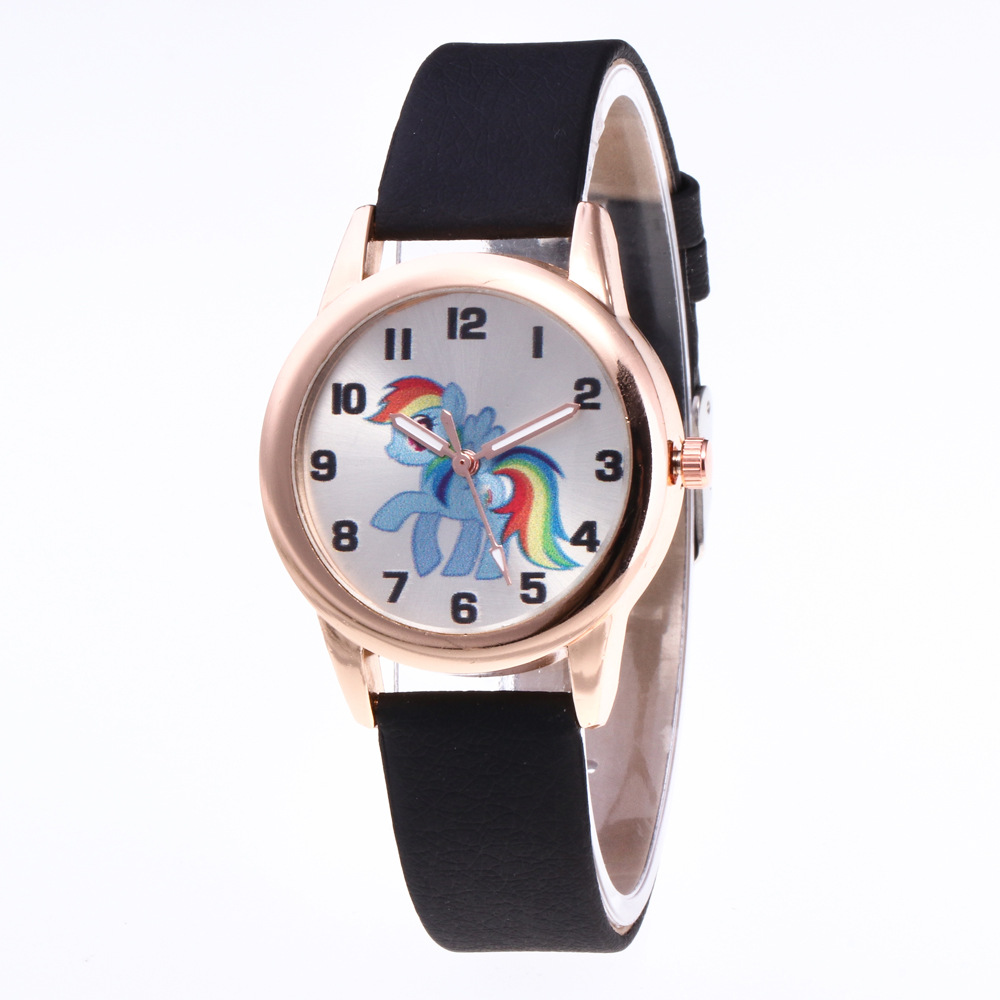 2019 New Rainbow Pony Children's Watch Luminous PU Belt Kids Watches Personality Cartoon Horse Child Watch For Boys Girls Clock