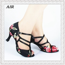 Flowers Satin Black Latin Shoes Salsa Dance Shoes Ladies Ballroom Shoes For Women Fitness Customizable High Heels