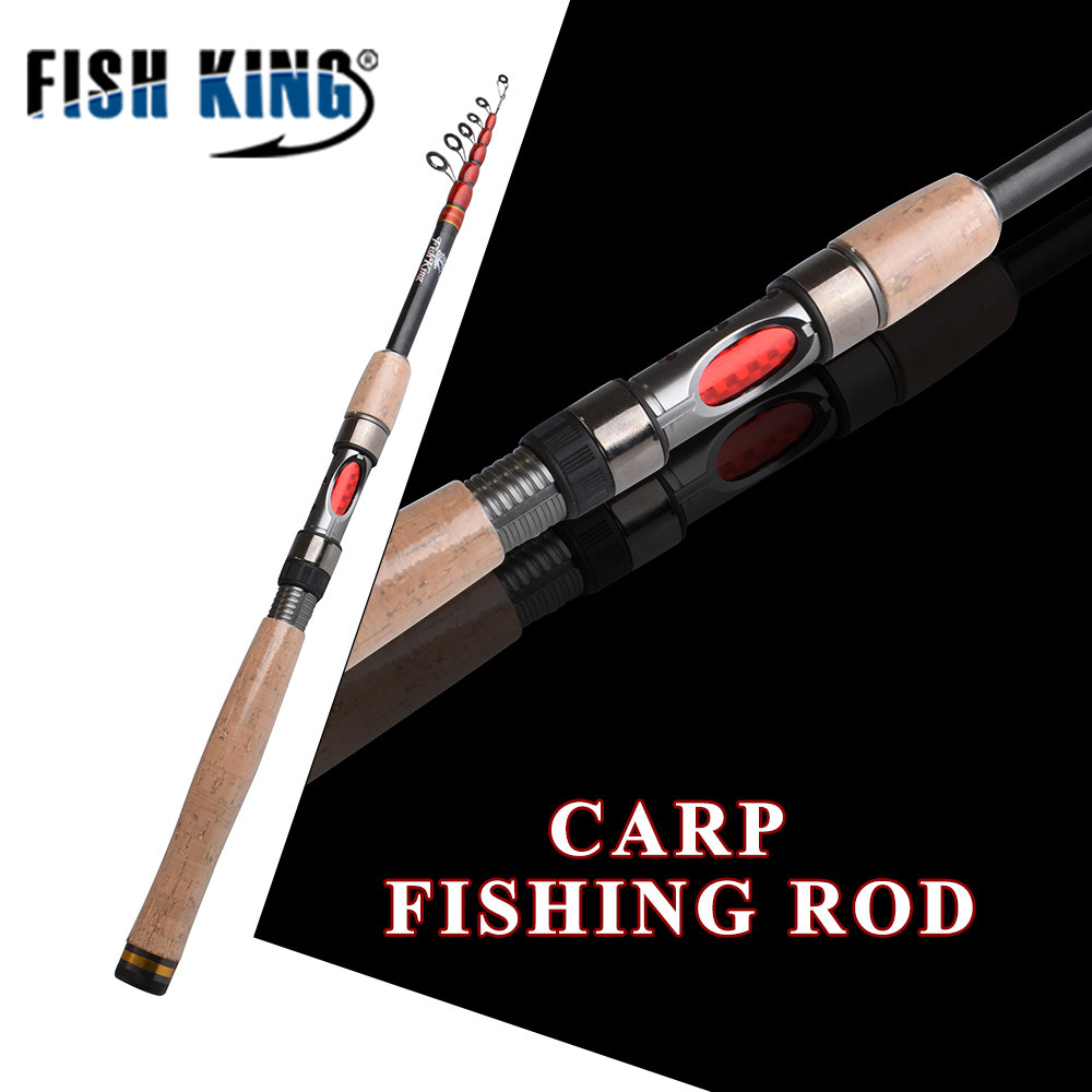FISH KING Telescopic Carp Fishing Rod Pole 24T 99% Carbon 1.8m 2.1m 2.4m 2.7m 3m High Quality Carbon Spinning Boat Rock Sea Rod seashark best fishing rod pole carbon high quality ultra light spinning boat rock sea rod fishing tackle tools gifts for man
