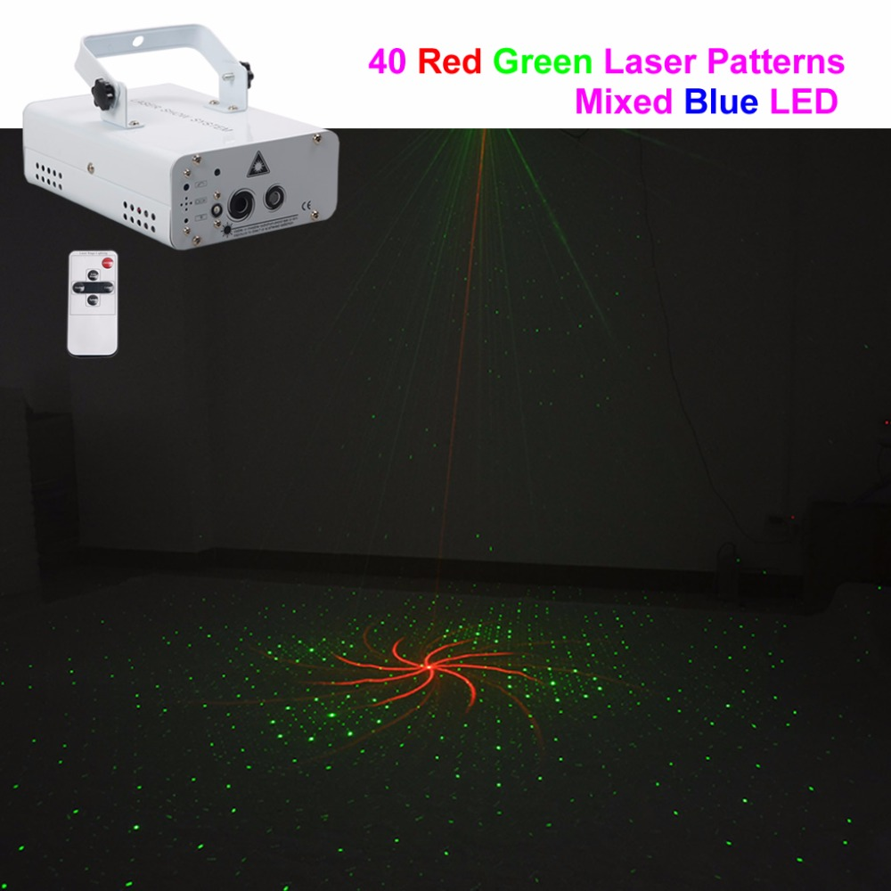 AUCD 40 In 1 Red Green RG Laser Big Pattern 70 Degrees Projector Light Mixed Blue LED Remote Party Show Stage Lighting XMT-40RG active letter pattern camo pattern sweatshirts in green