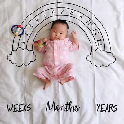 เด็กทารก Milestone ผ้าห่ม Photo การถ่ายภาพ Prop ผ้าห่มฉากหลังผ้าปฏิทิน Bebe Boy Girl อุปกรณ์เสริม 100x100 ซม.