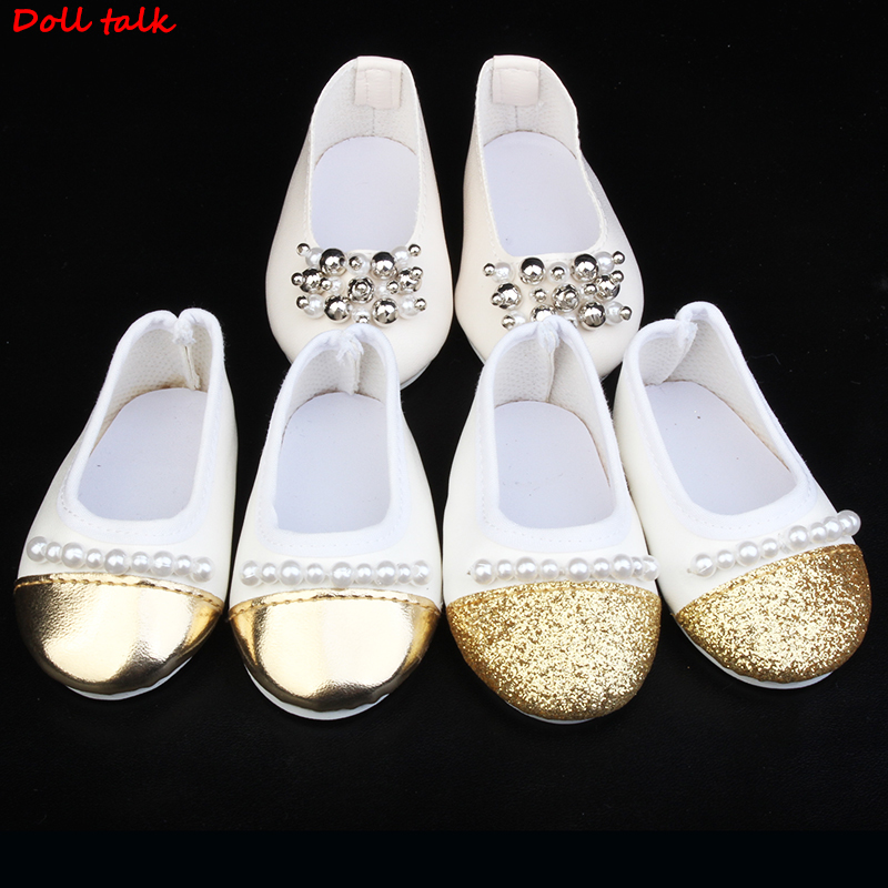 Fashion Front-end Doll Shoes Newest Man-made Pearl FOr Dolls For 18 Inches BJD Handmade Toy Accessories