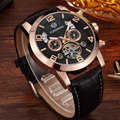 Famous Top Brand Fashion Mens Genuine Leather Automatic Mechanical Watch Mens Calendar Multifunction Sport Military Mens Watches