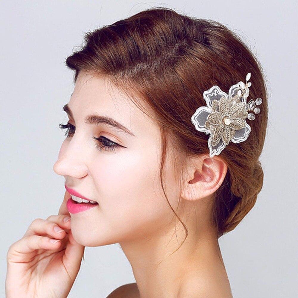 White Wedding Dress Gold Jewelry: 1 Piece Bridal Wedding Hair Jewelry Lace Flower Hair