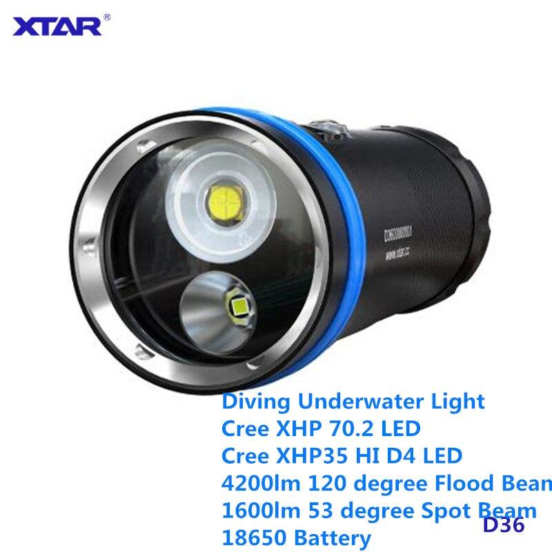 Xtar D36 Cree XHP70 XHP35 plongée lumière vidéo 18650 O LED écran 100 m 4200lm LED lampe sous-marine piscine étanche