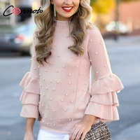 Conmoto Ruffle Tiered Long Sleeve O Neck Light Pink Pearl Pullover Sweater Sweet Beading Winter 2018 High Street Fashion Jumper