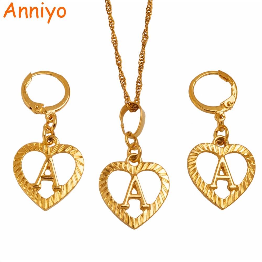 Anniyo A-Z Gold Color Heart Letters Necklace Earrings Initial for Women/Girls,Alphabet Pendant English Letter Jewelry #101206S