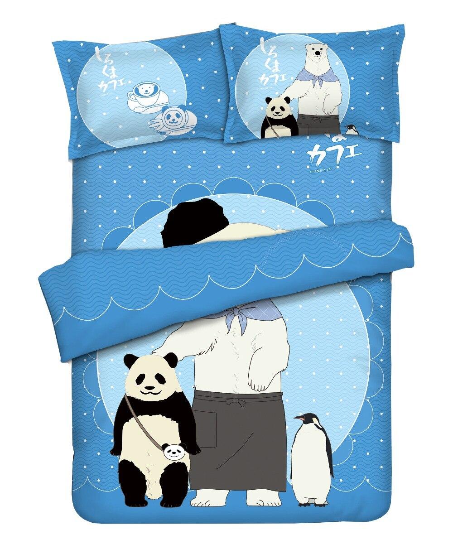 Shirokuma café bleu ensemble de literie avec taies d'oreiller drap de lit housse de couette ensemble