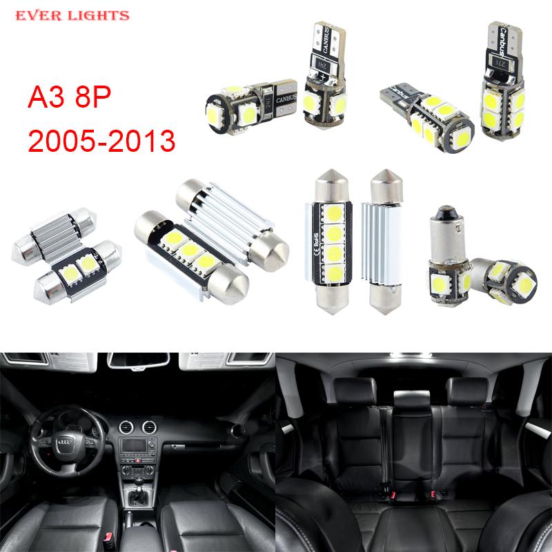 Prix pour 12 pcs LED Canbus Éclairage Intérieur Kit Paquet Pour Audi A3 8 P (2005-2013)