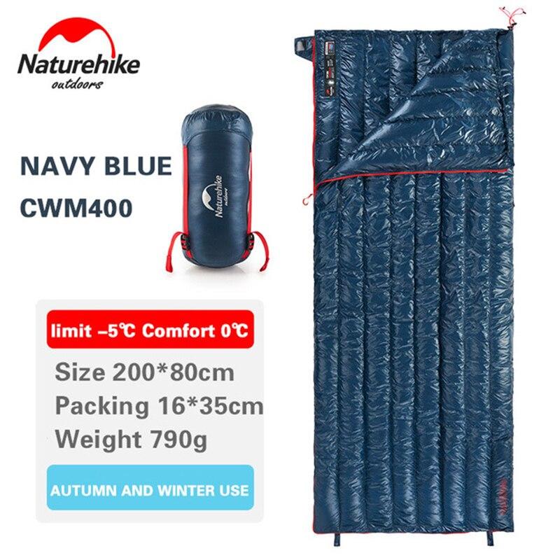 Naturehike Sleeping Bag White Goose Down Envelope Type Ultralight Camping 800FP Warm Waterproof Sleeping Bags NH17Y010-R