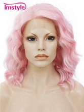 Imstyle Deep Wave Pink Color 14″ Heat resistant Synthetic lace front bob wig for Drag queen women