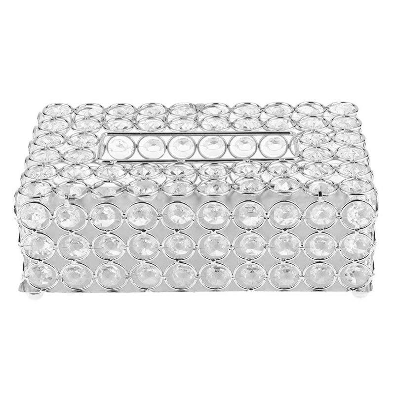 HeyMamba Ruban/Or Métal Cristal De Boîte À Mouchoirs Perles Papier Boîte Cas De Tissu Pour La Maison De Mariage Décoration De Table