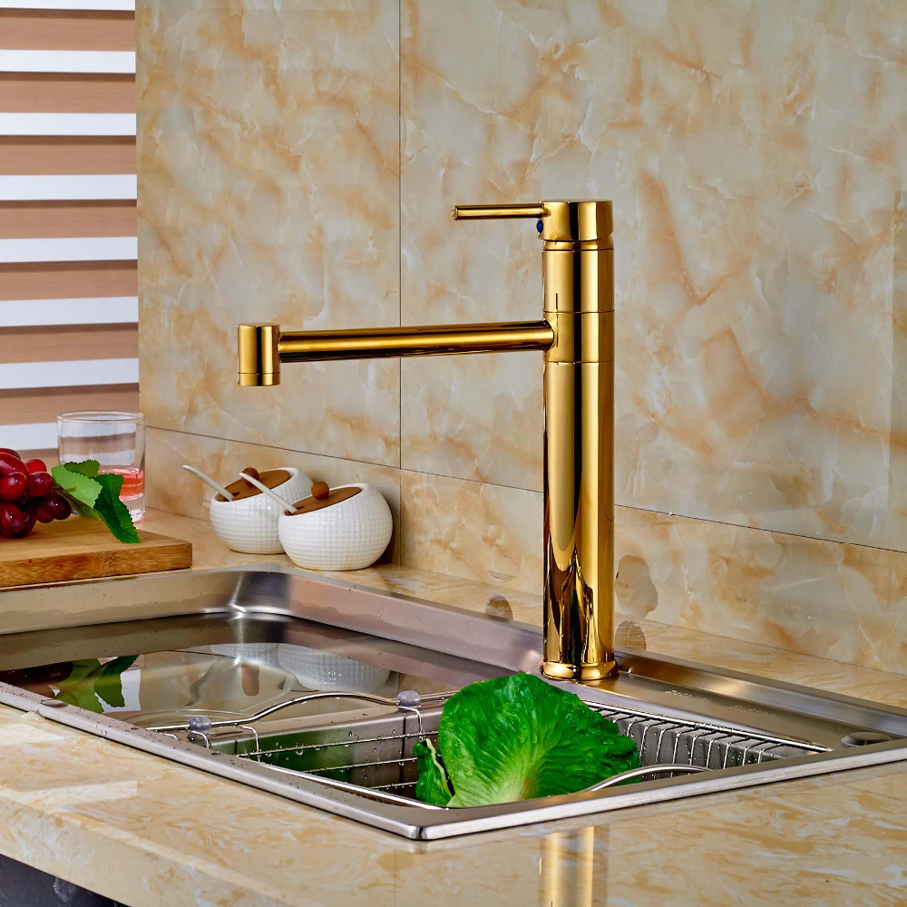 ФОТО Gold Finish Kitchen Hot Cold Water Taps Single Handle Brass One Hole Mixer Faucet