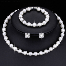 59a1550bd Fashion Wedding Bridal Jewelry Set Pearl Party Prom Gift Silver Crystal Bracelet  Necklace Earrings for Women