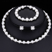 Fashion Wedding Bridal Jewelry Set Pearl Party Prom Gift Silver Crystal Bracelet Necklace Earrings for Women jewellery sets(China)