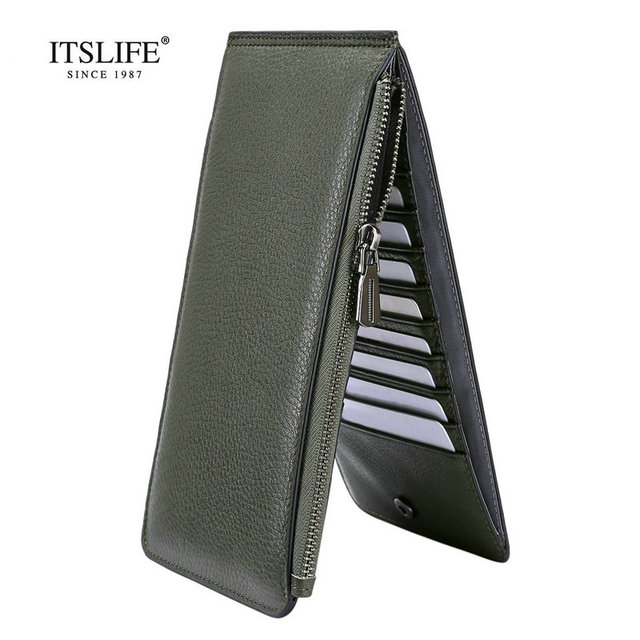 2018 new soft genuine leather women 20 cards holder leather zipper ladies wallet bifold card case - Bifold Card Holder