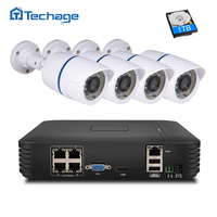 Techage 4CH 1080P POE NVR Kit 4PCS 1 0mp 1200TVL Outdoor POE IP Camera P2P ONVIF