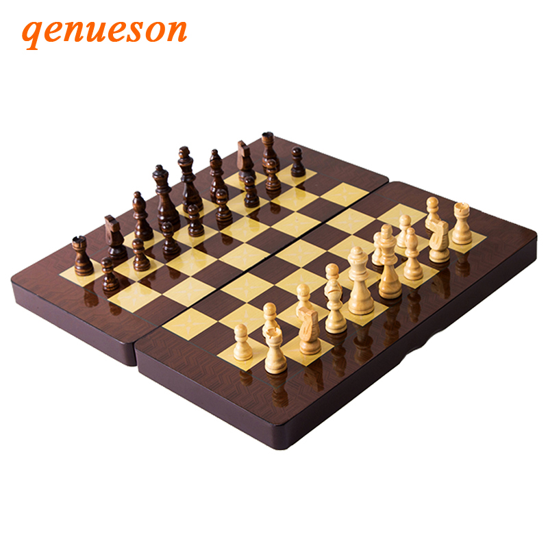 Hot New Design Folding 3 in 1 Wooden International Chess Set Board Travel Games Chess Backgammon Draughts Entertainment qenueson 21 inch 53cm jumbo wooden chess box folding portable chess board standard international chess games toy