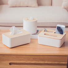 купить Nordic Simple Bamboo Wood Tissue Box Living Room Coffee Table Multi-function For Creative Paper Storage Household Home Roll по цене 461.99 рублей