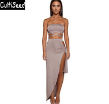 Sexy Strapless Off the Shoulder Backless Hollow Out Bandage Nightclub Party Dresses Female High Split Dresses Clothes