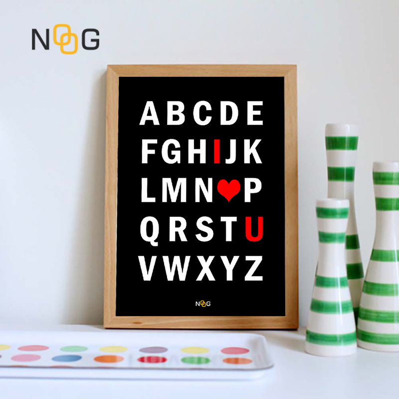 NOOG Modern ABC Love  Print Posters Alphabet Canvas Painting Abstract Wall Pictures For Living Room Nordic Home Decor No Frame